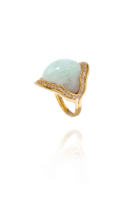 Fluid Diamonds Framed Stone Ring