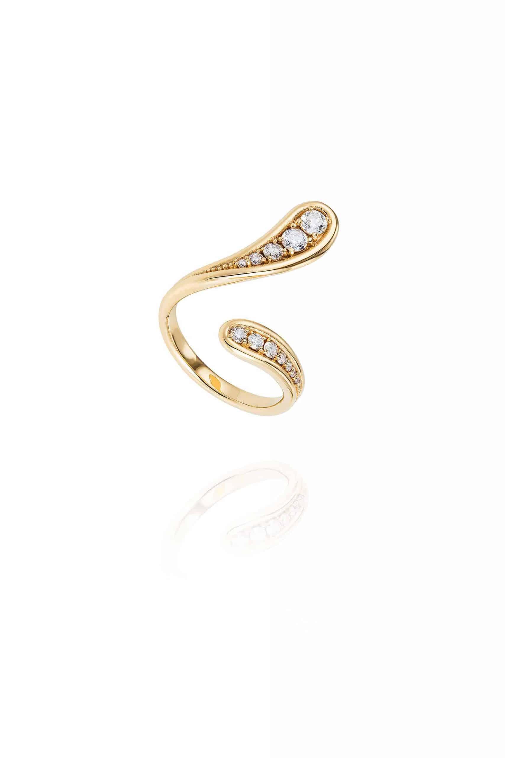 Fluid Diamonds Open Ring