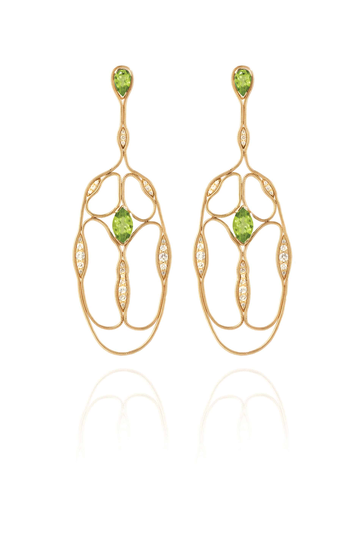 Fluid Diamonds and Stones Cross Earrings