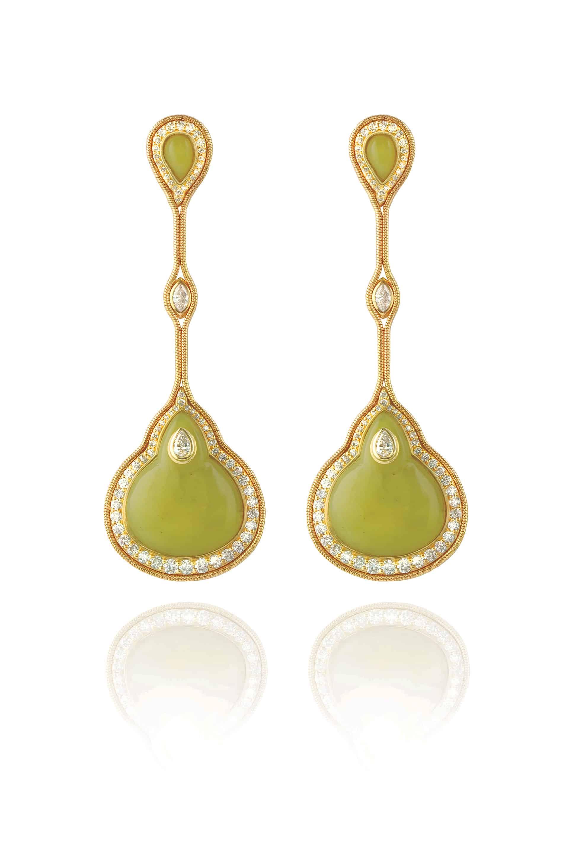 Fluid Diamond Droplet on Stone Earrings