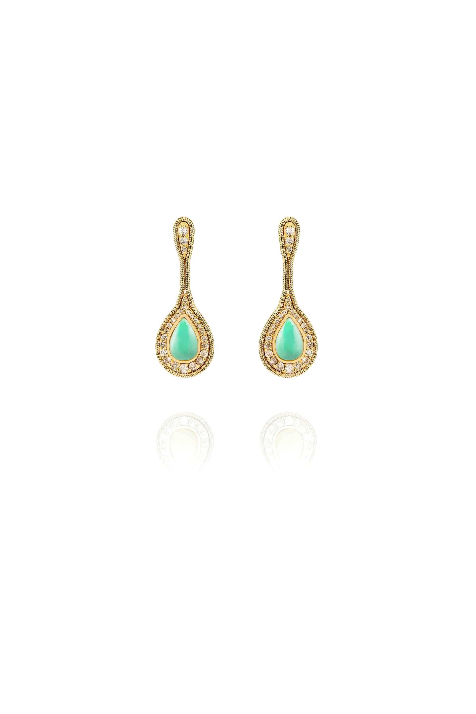 Fluid Diamonds Framed Stone Small Earrings